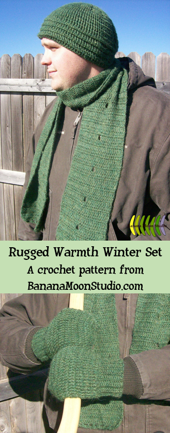 Crochet Hat, Scarf, and Mittens for Men, a Crochet Pattern from Banana Moon Studio