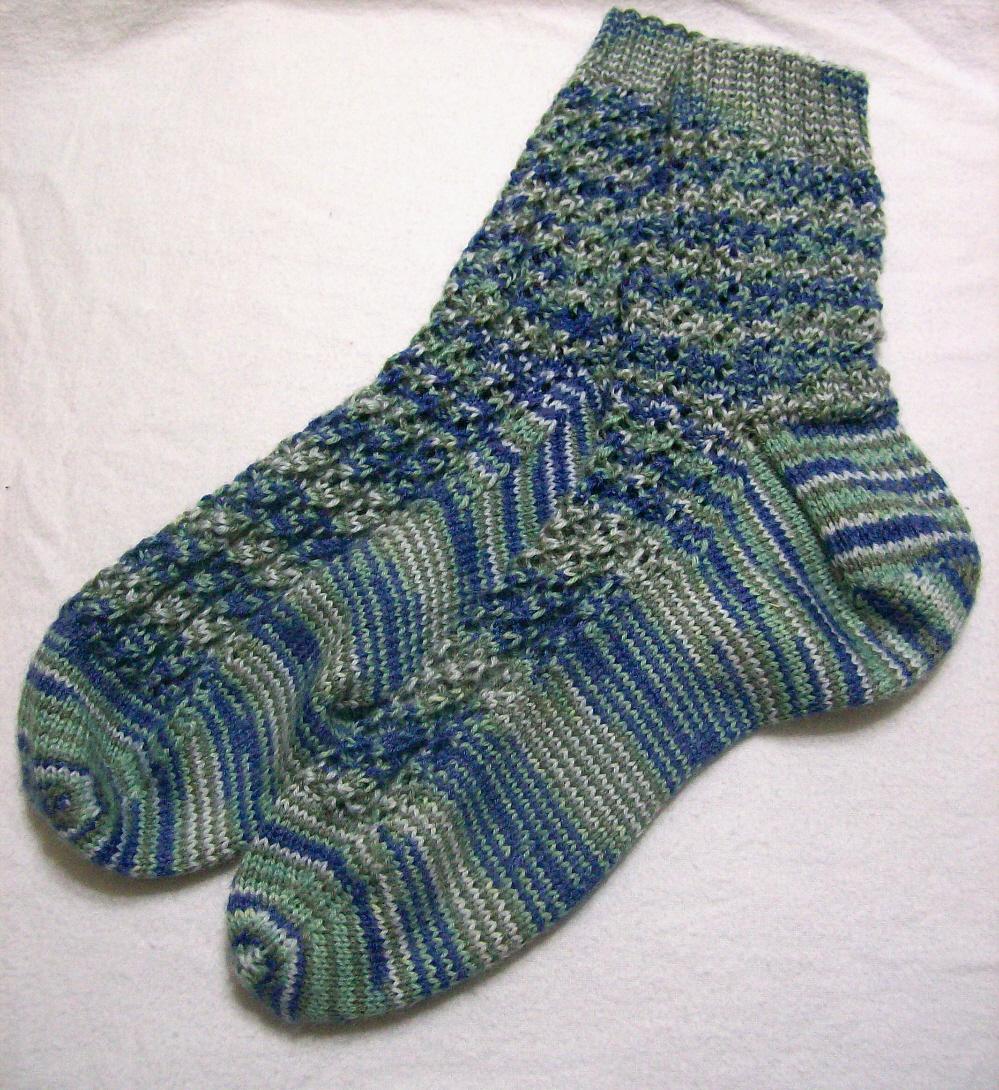 hand knit socks made for April Garwood of Banana Moon Studio by her mom