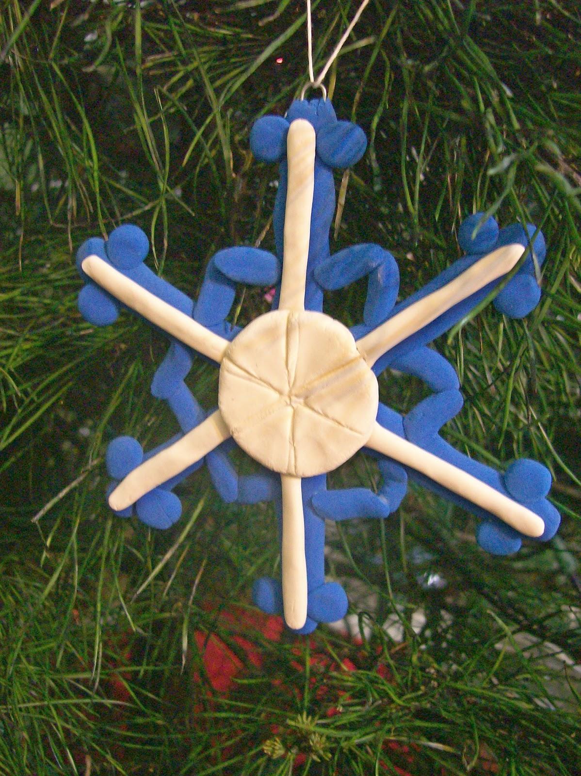 Snowflake Christmas ornament in Crayola Model Magic made by April Garwood of Banana Moon Studio