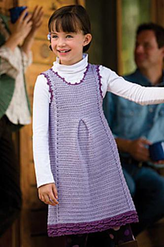Crochet girls jumper, crochet cables, pattern by April Garwood of Banana Moon Studio for Interweave Crochet