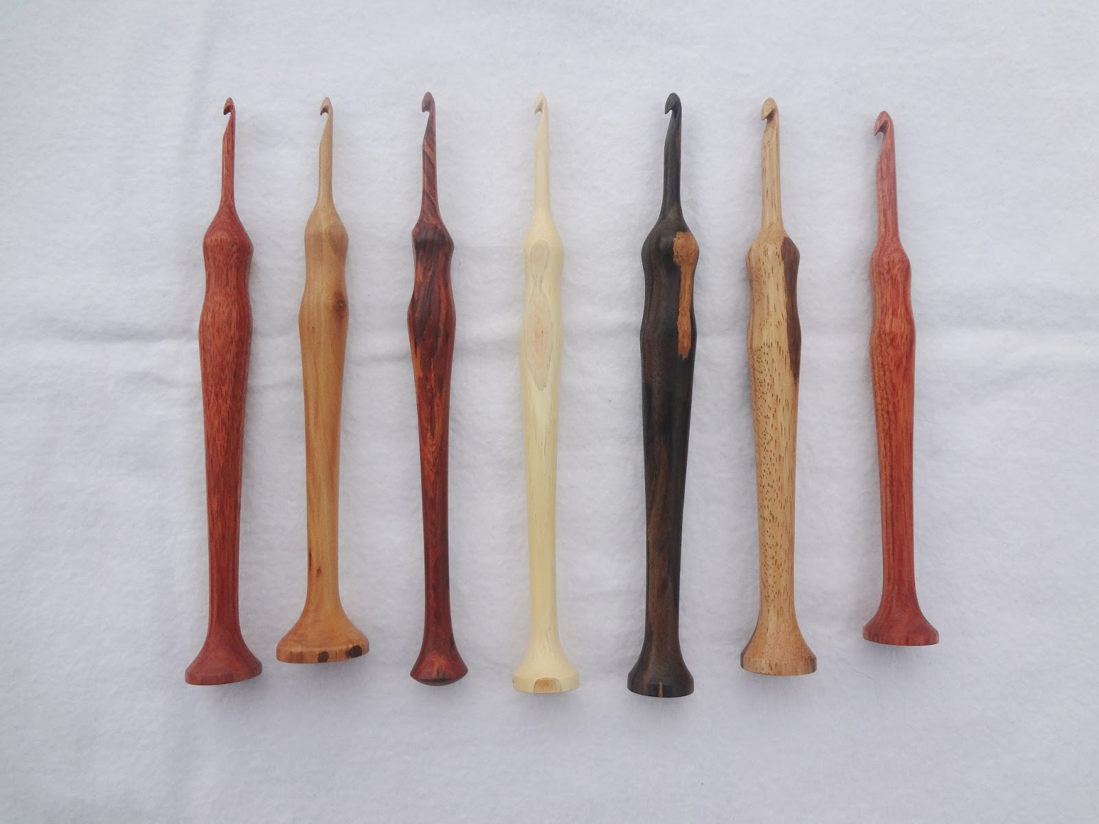Hand turned wooden crochet hooks by Jim Price, of Jimbo's Front Porch.