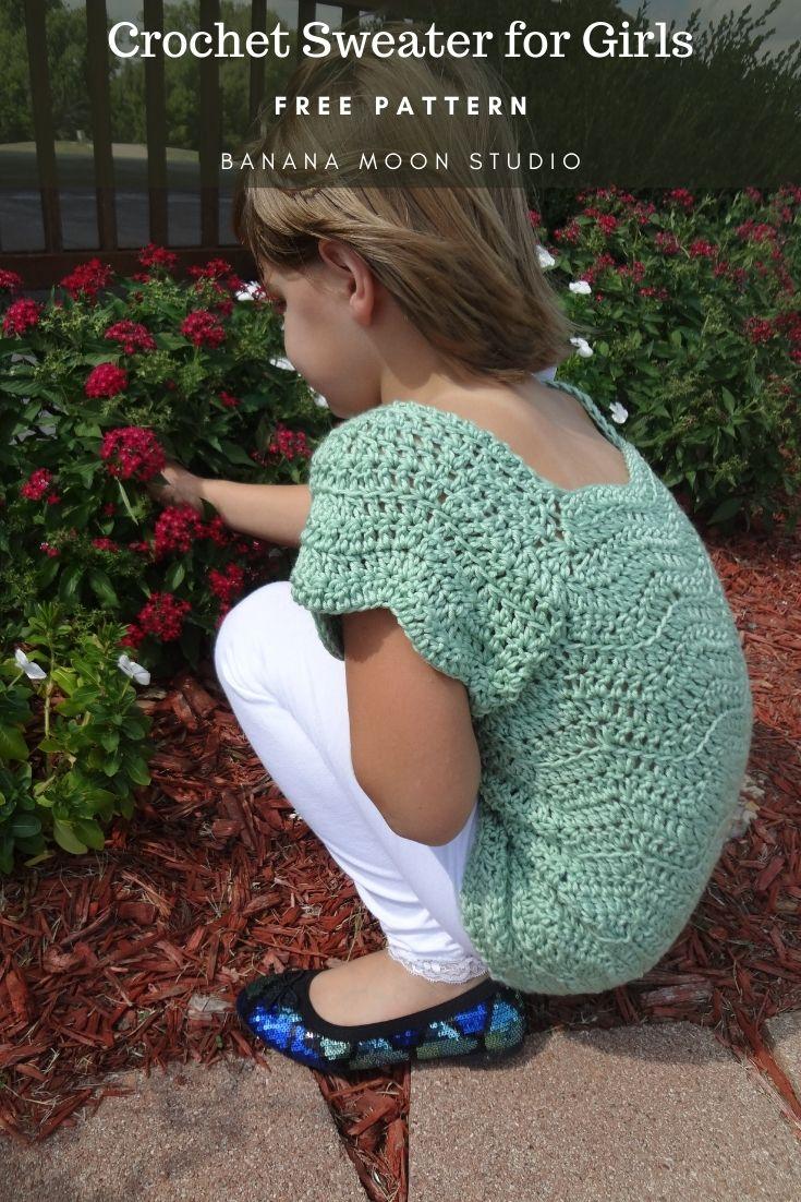 Crochet sweater pattern for girls from Banana Moon Studio!