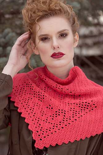 Crochet shawl pattern with filet lace, by April Garwood of Banana Moon Studio