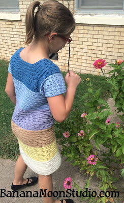 Girls crochet sweater dress, pattern by April Garwood of Banana Moon Studio