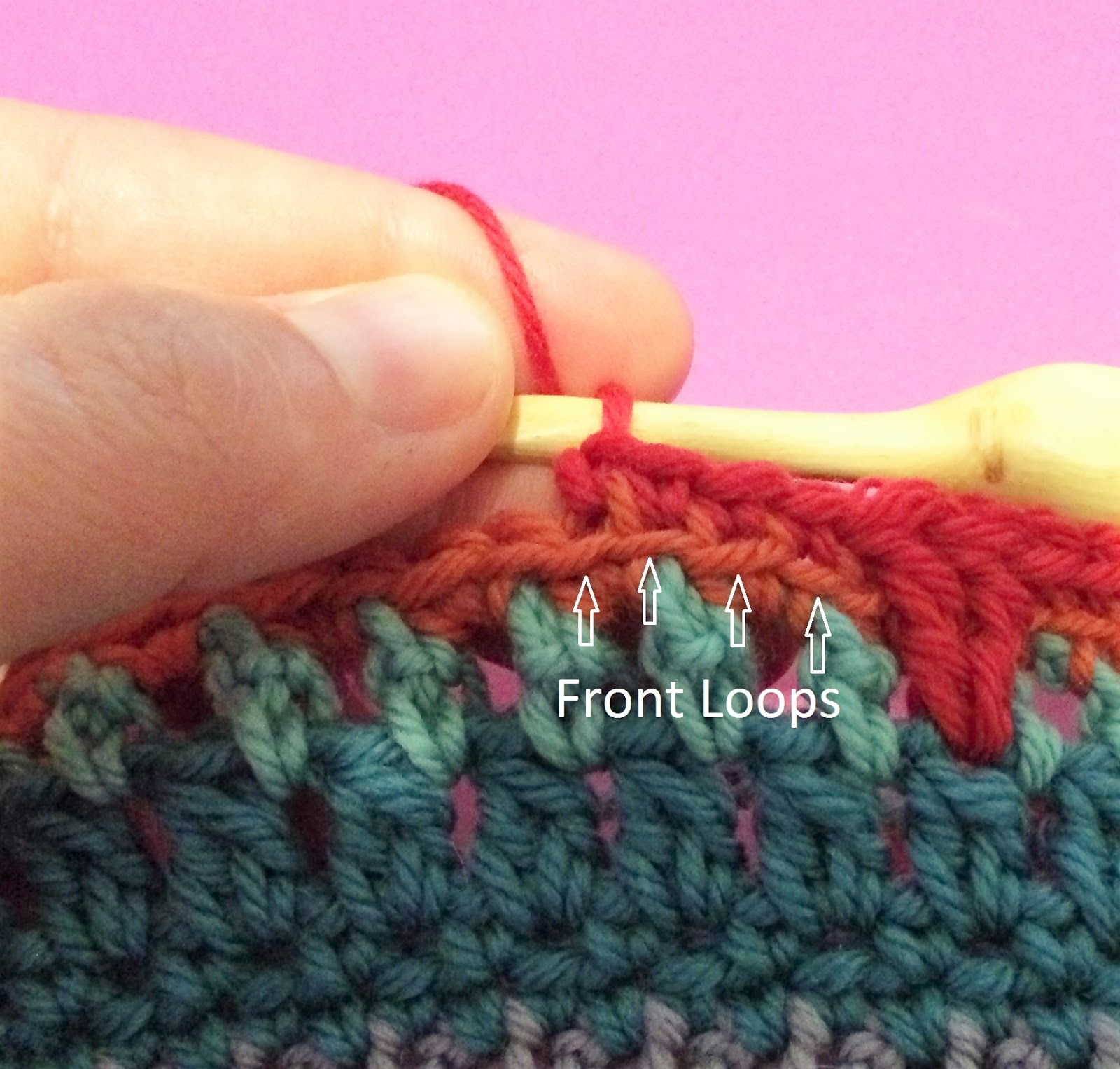 Learn to crochet in the back loop only of a stitch, or BLO. A photo tutorial.