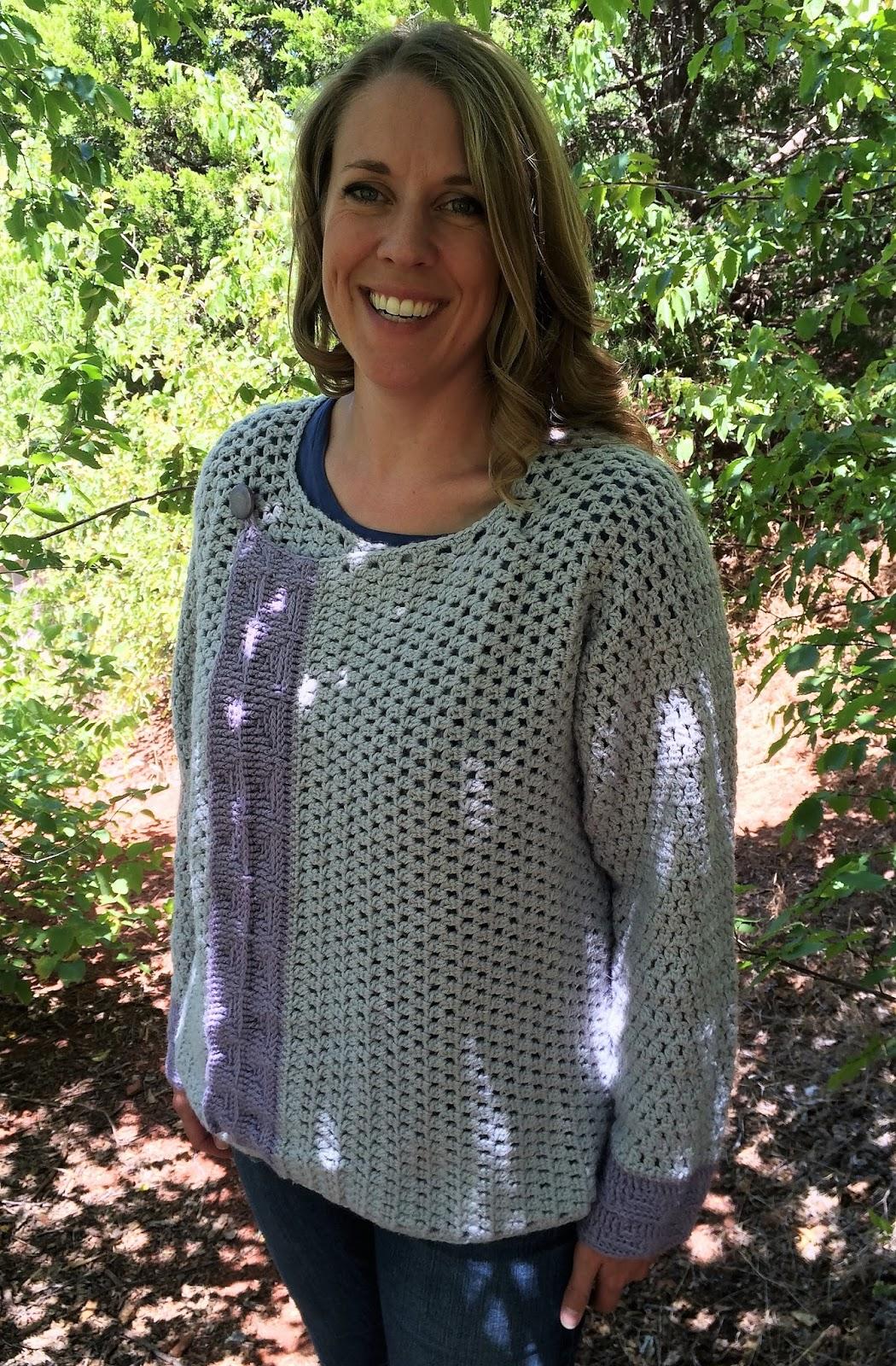 Crochet pattern for a women's cardigan, by April Garwood of Banana Moon Studio