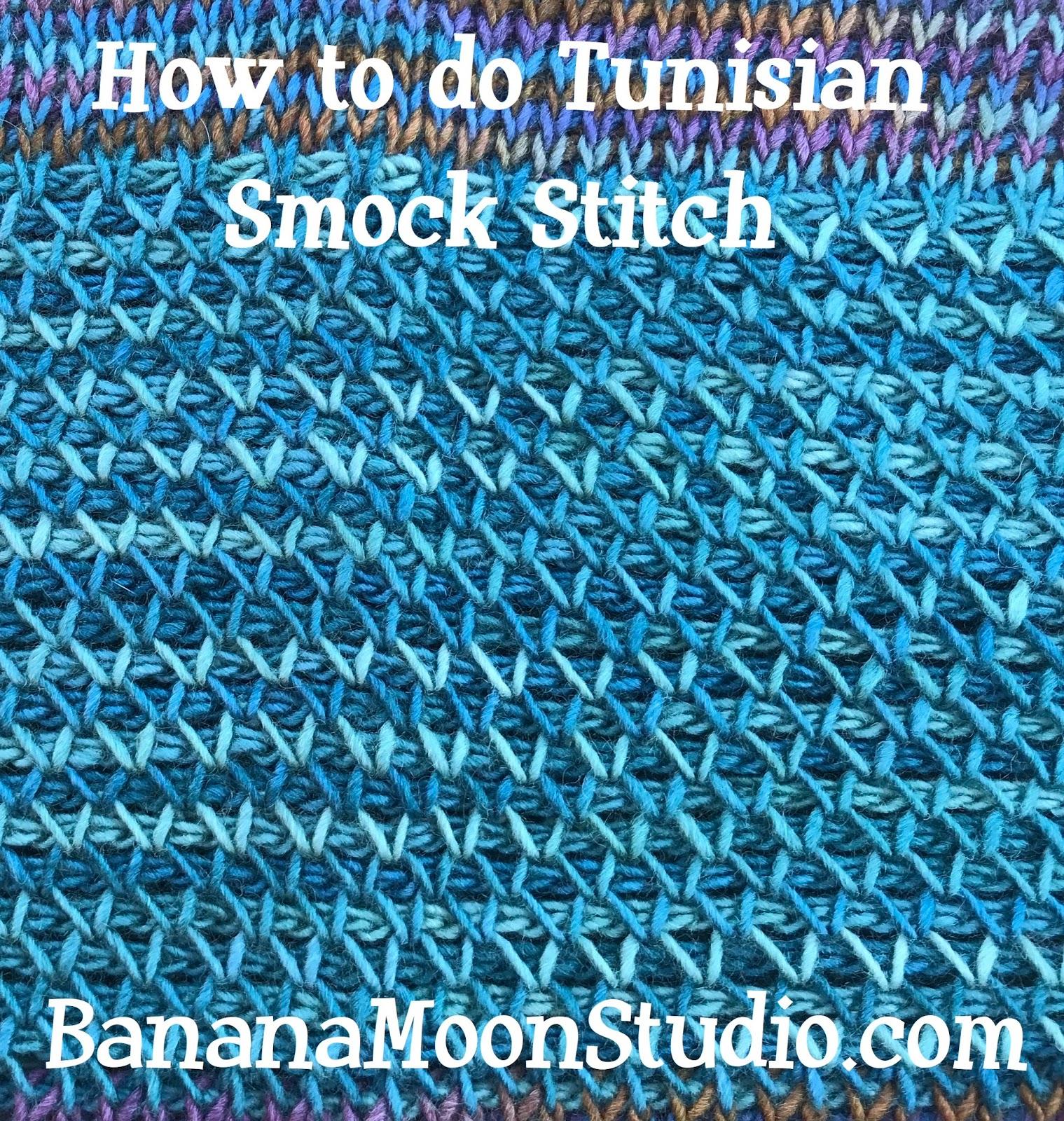 How to do Tunisian smock stitch, tutorial by April Garwood of Banana Moon Studio