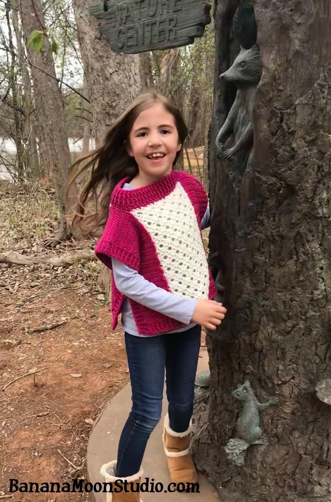 Free crochet pattern for a girls poncho by April Garwood of Banana Moon Studio