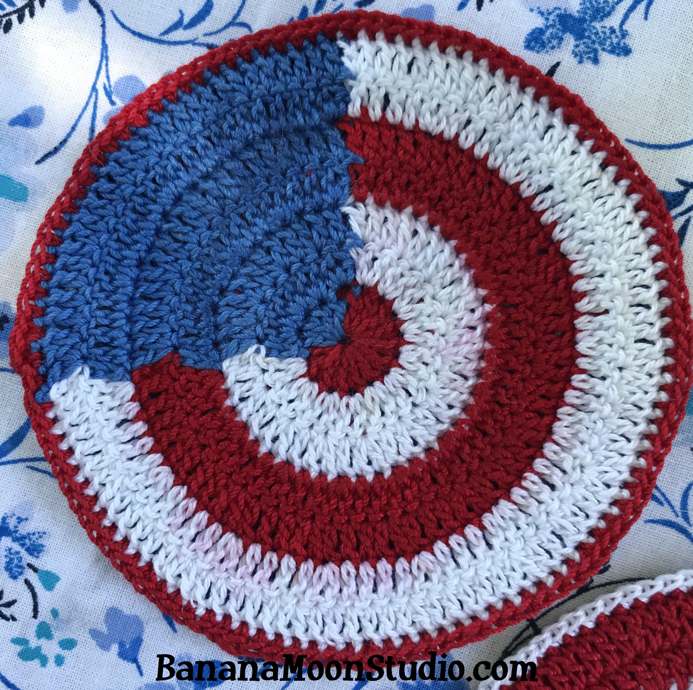 Crochet pattern, 4th of July Coasters, flag decor, patriotic decor, Independence Day decor. Banana Moon Studio