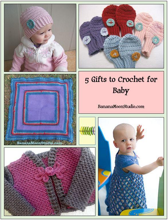 Baby shower gifts to crochet, crochet patterns by Banana Moon Studio