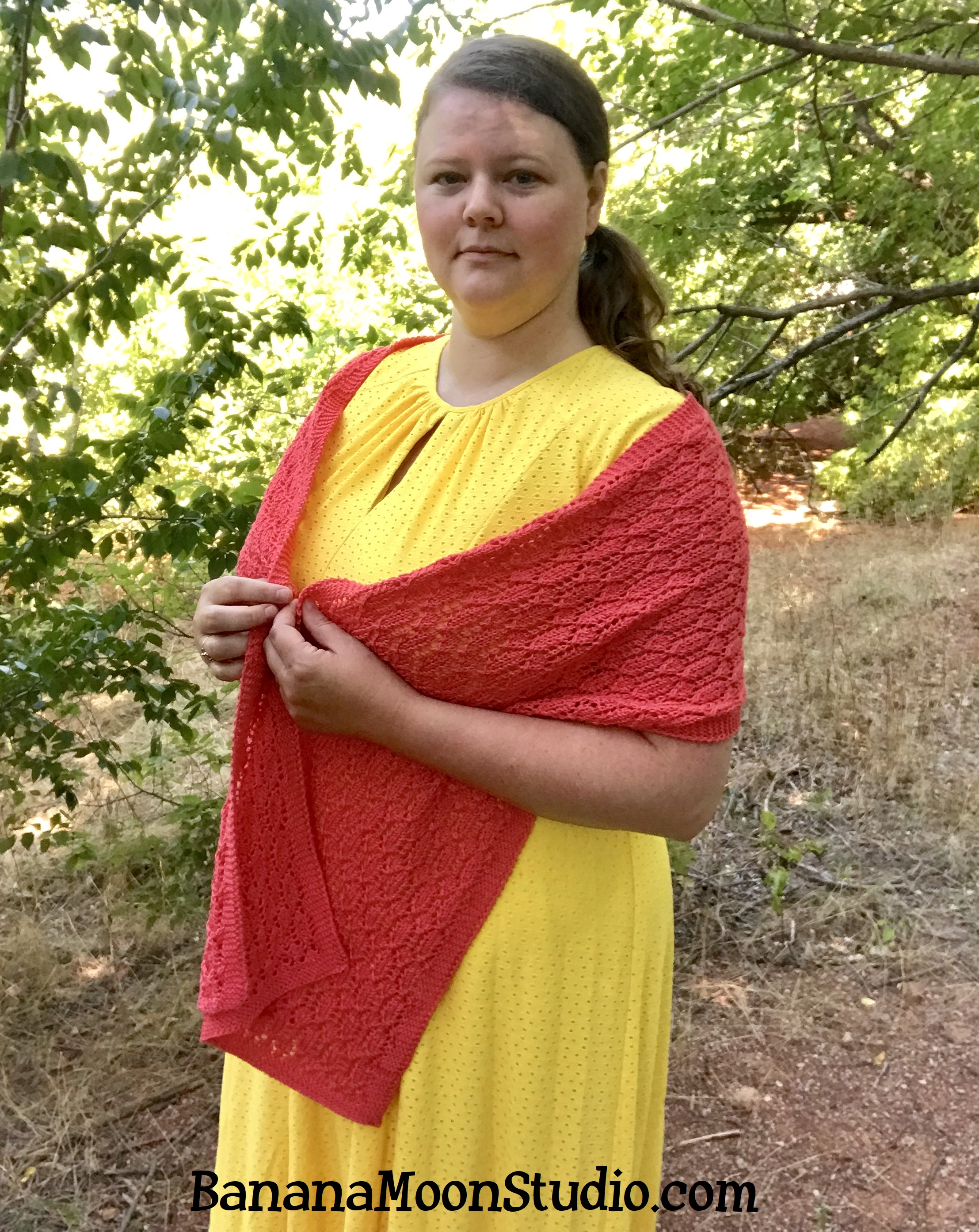 Free knitting pattern for a cotton lace wrap, from Banana Moon Studio