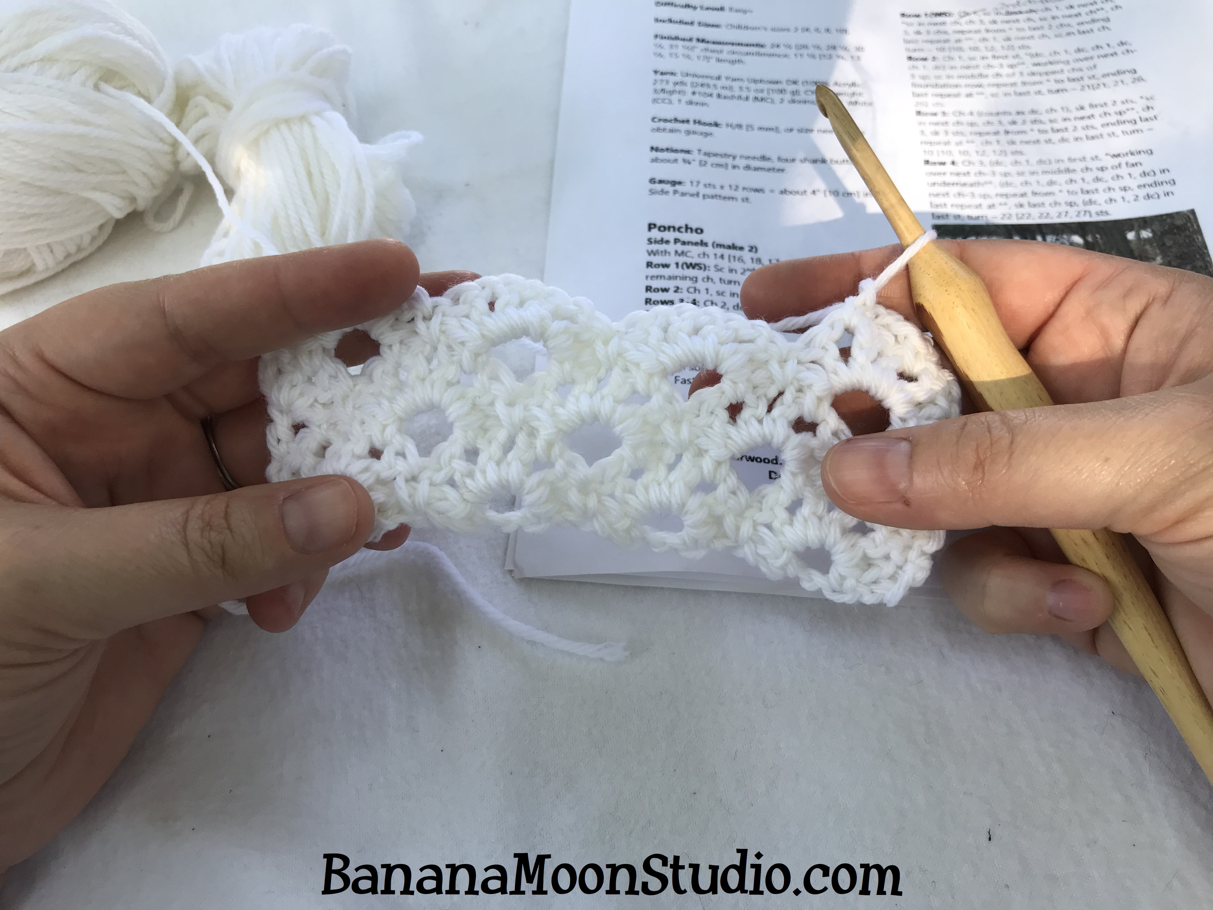 Learn to crochet the lace panels of Roland Poncho, a free pattern from Banana Moon Studio