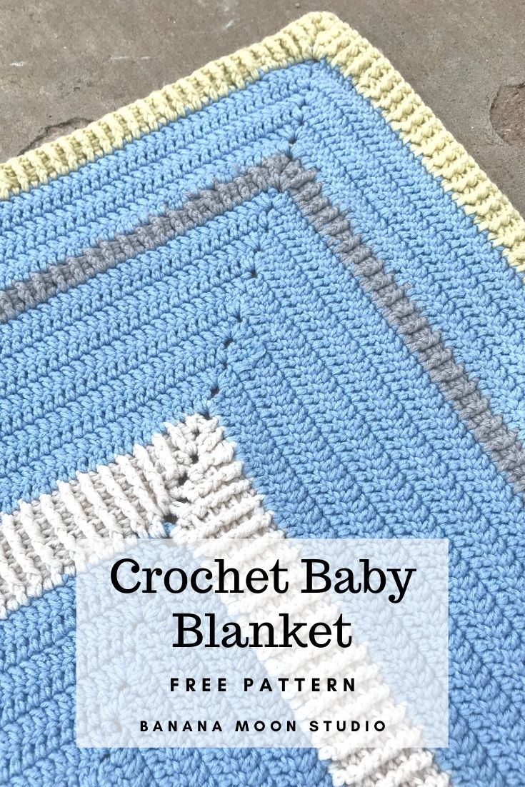 Free crochet pattern for this center-out baby blanket from Banana Moon Studio