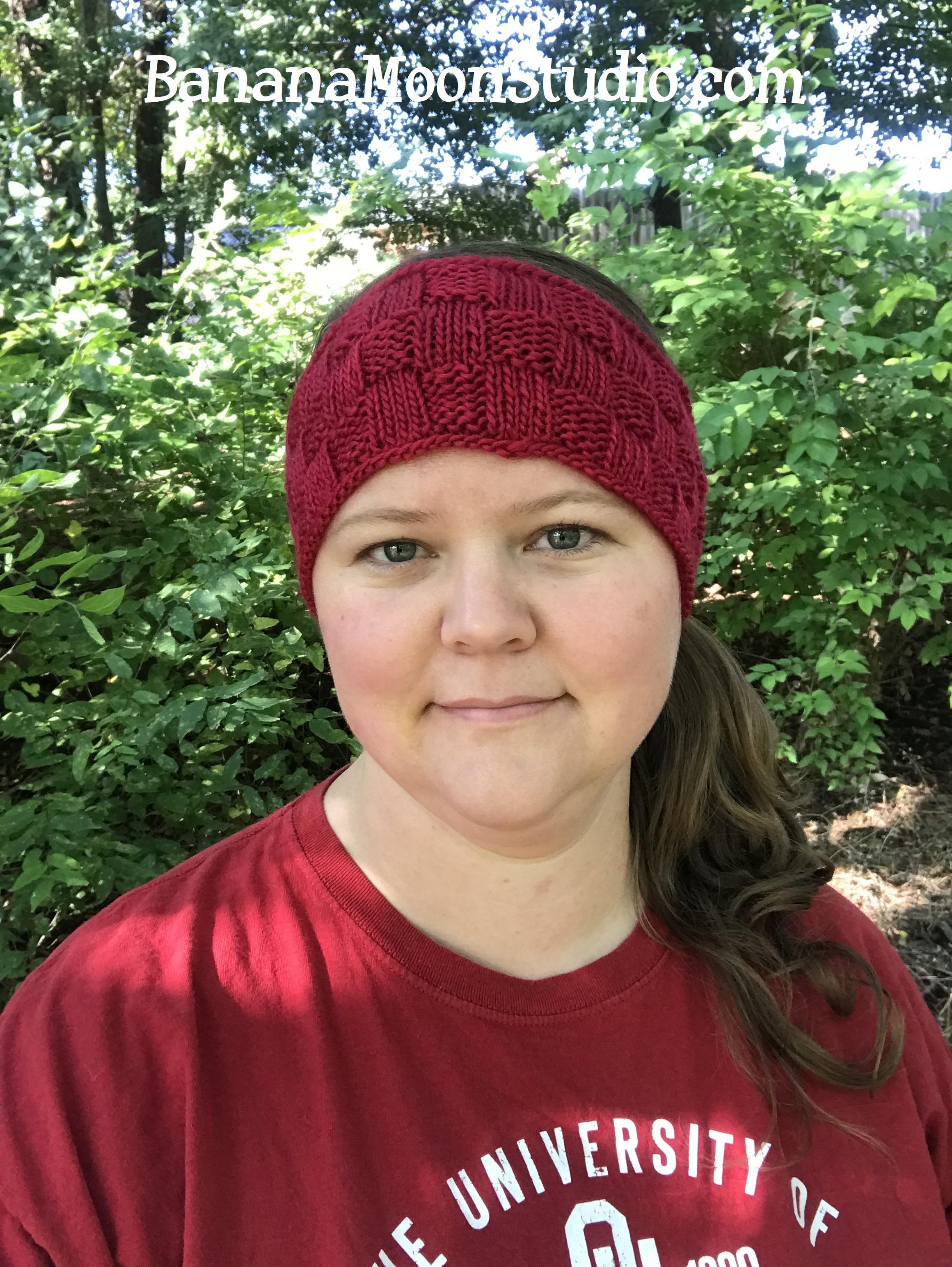 Yukon Headband, a free knitting pattern for fall and football season, from Banana Moon Studio