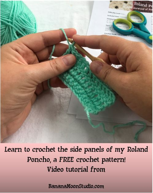 Learn to crochet the side panels of the Roland Poncho, a FREE crochet pattern from Banana Moon Studio