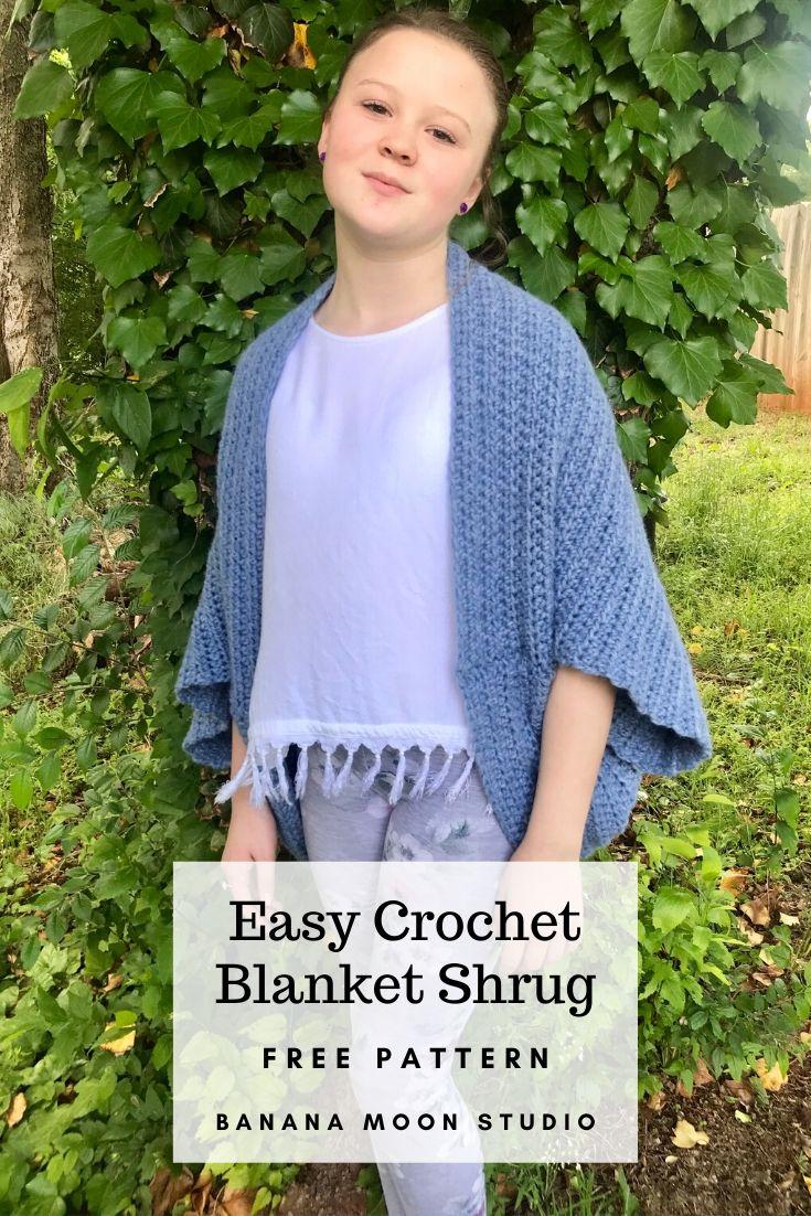 Easy Crochet Blanket Shrug, Free Pattern, Banana Moon Studio