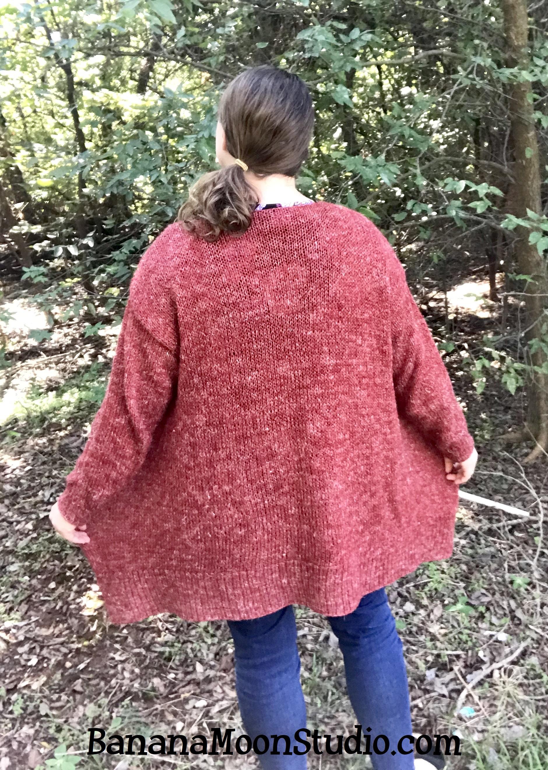 Eufaula Cardigan, a free knitting pattern for this casual women's cardigan from Banana Moon Studio