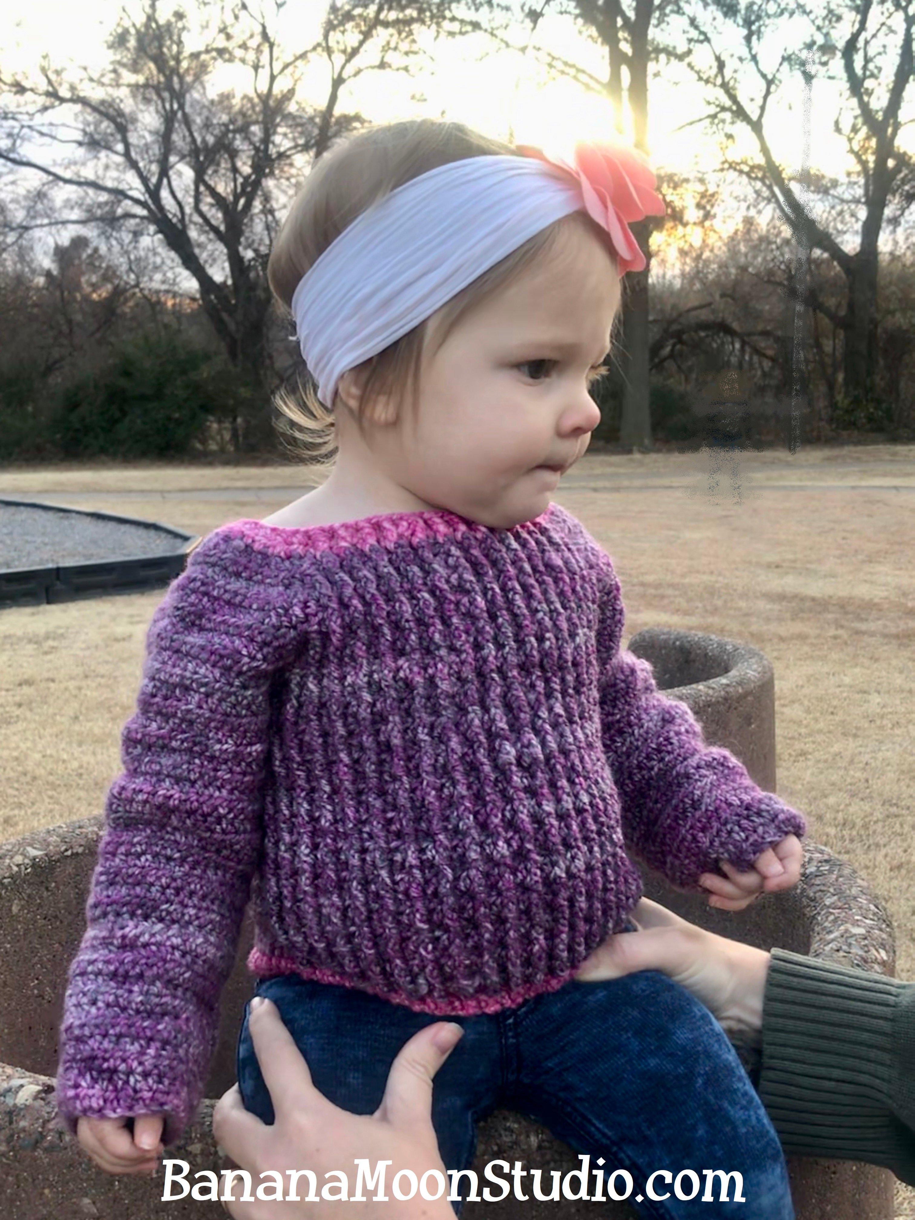 Pryor Creek Jr, FREE crochet pattern for a baby sweater from Banana Moon Studio