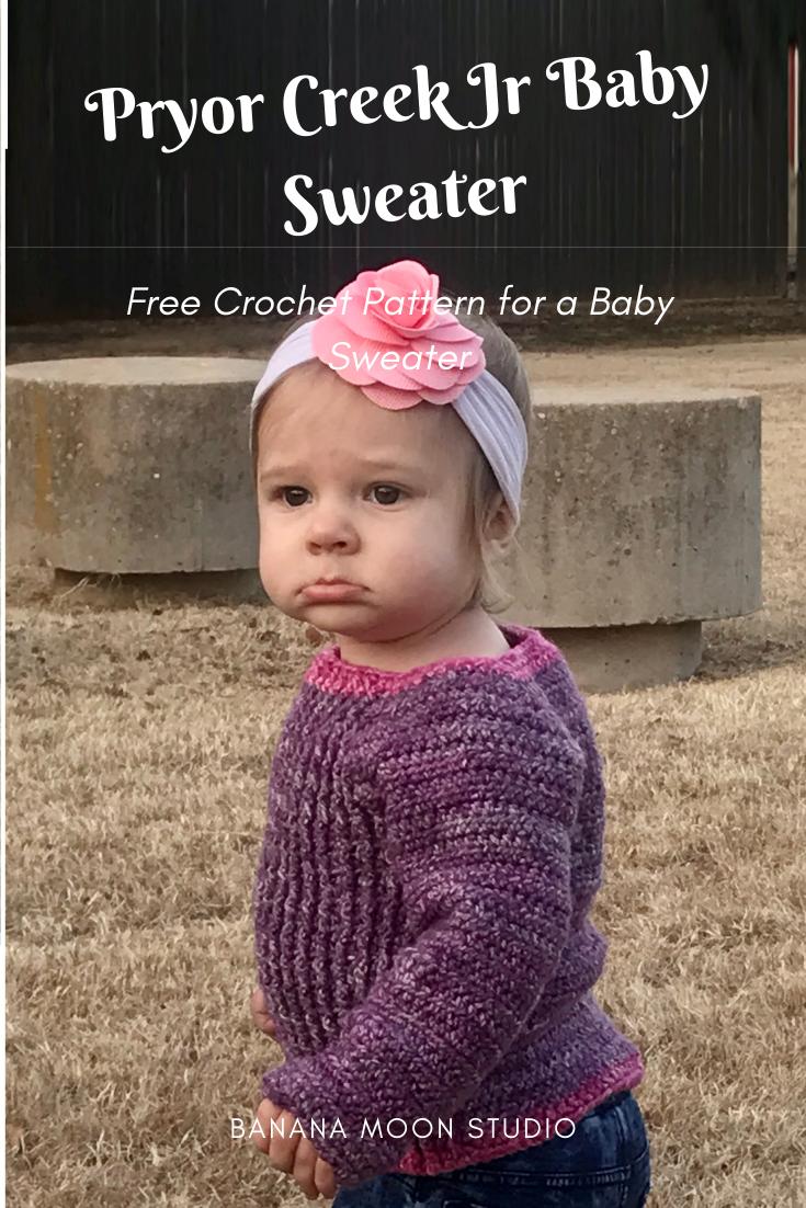 Pryor Creek Jr Baby Sweater, a free crochet pattern from Banana Moon Studio