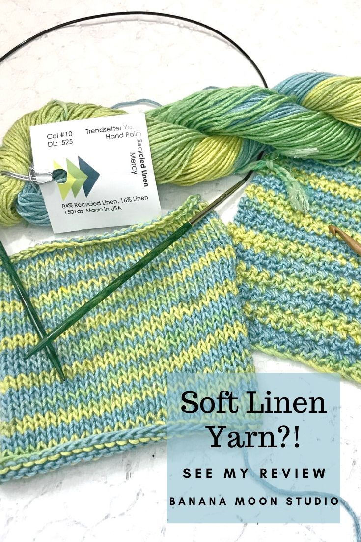 Soft Linen Yarn! Review of Trendsetter Yarns Recycled Linen. Review from Banana Moon Studio