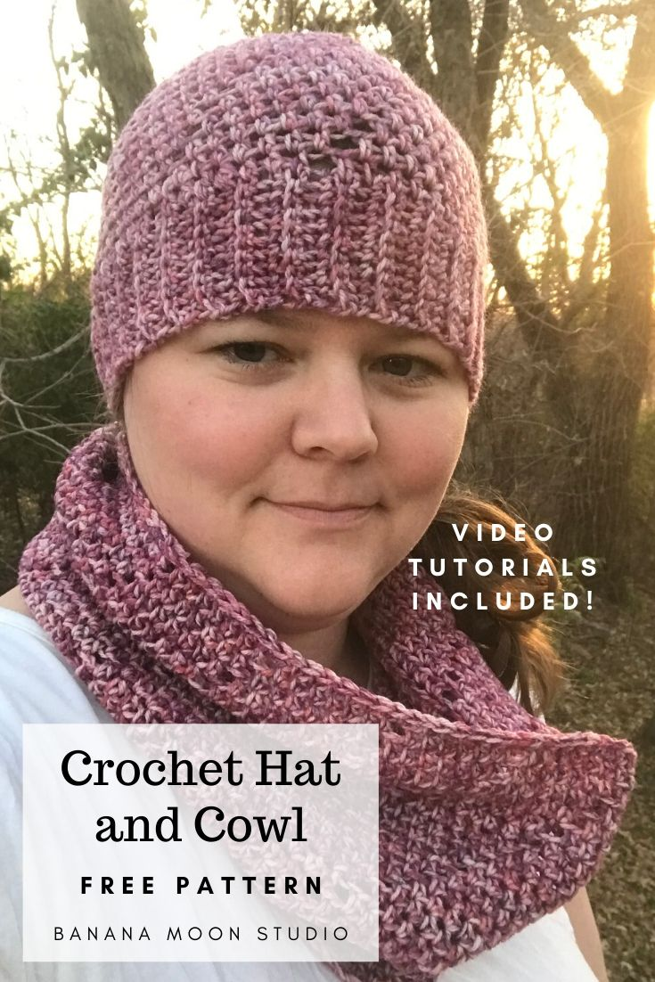 Free crochet patterns for matching hat and cowl from Banana Moon Studio! Video tutorials included.