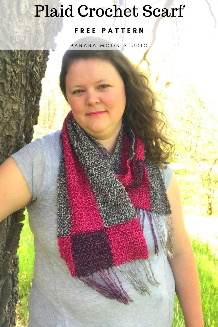 Plaid Crochet Scarf. Free pattern from Banana Moon Studio! #plaidcrochetscarffreepattern #freecrochetplaidscarfpatterns