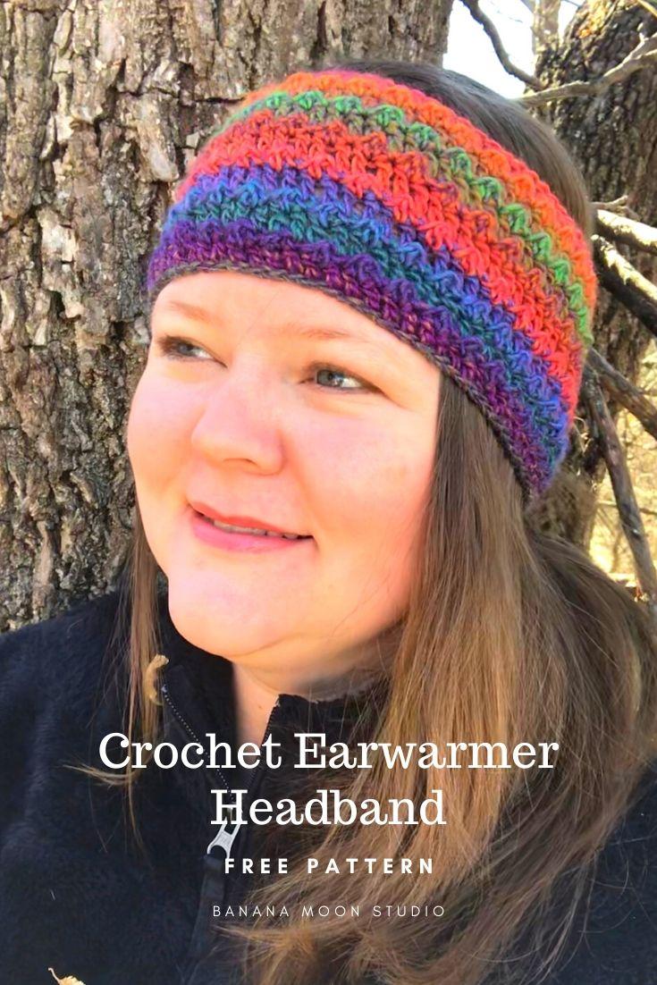 Crochet earwarmer headband pattern, FREE from Banana Moon Studio! #crochetearwarmerfreepatterns