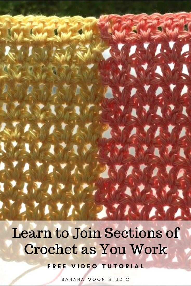 Learn to join sections of crochet as you work! Free video tutorial and pattern from Banana Moon Studio. #howtojoincrochet