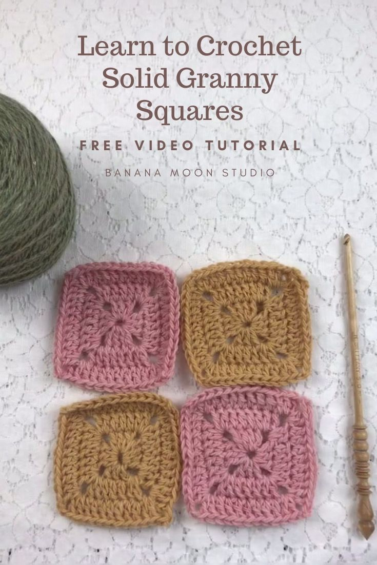 Learn to crochet a solid granny square with this video tutorial from Banana Moon Studio #crochetgrannysquare
