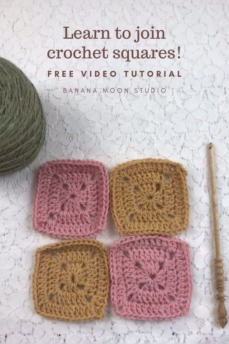 Learn how to join crochet squares with this video tutorial from Banana Moon Studio! #howtojoincrochetsquares
