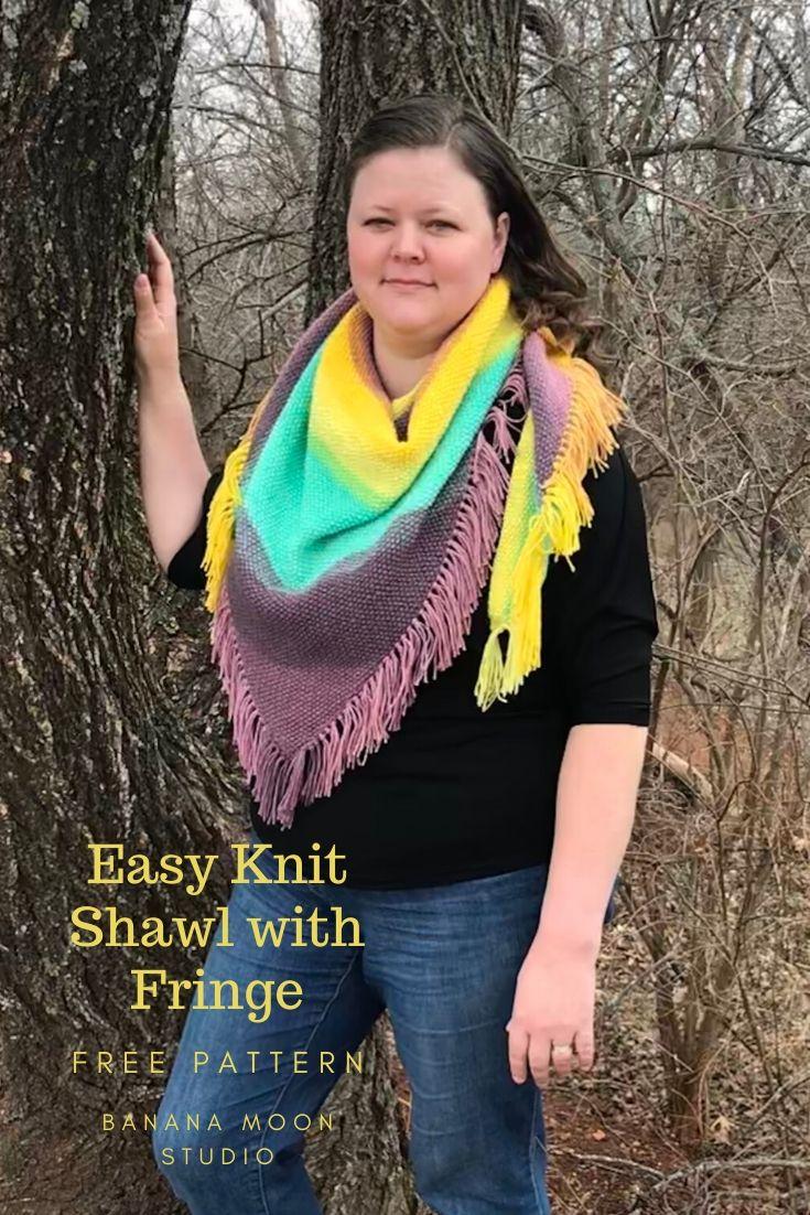 Easy knit shawl pattern, free from Banana Moon Studio