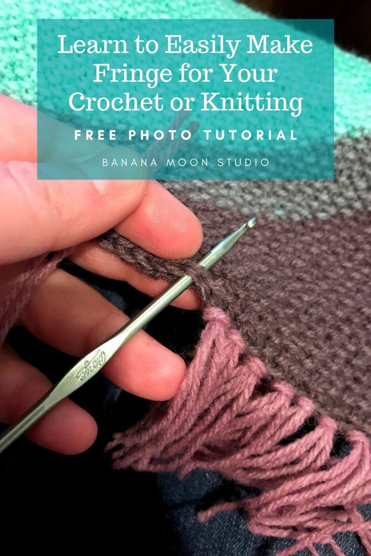Learn to easily make fringe for your crochet or knitting, photo tutorial from Banana Moon Studio.