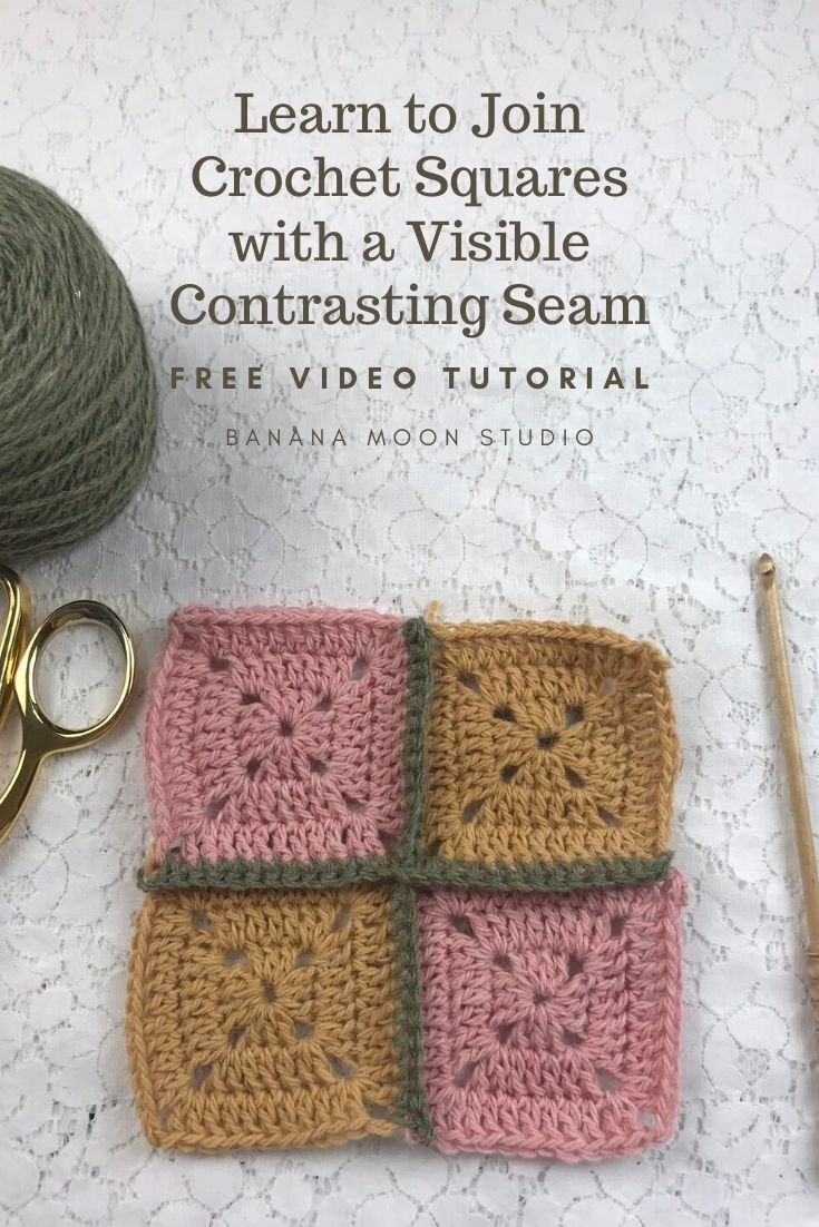 Learn to join crochet squares together with a visible contrasting seam with this video tutorial from Banana Moon Studio #howtojoincrochetsquares
