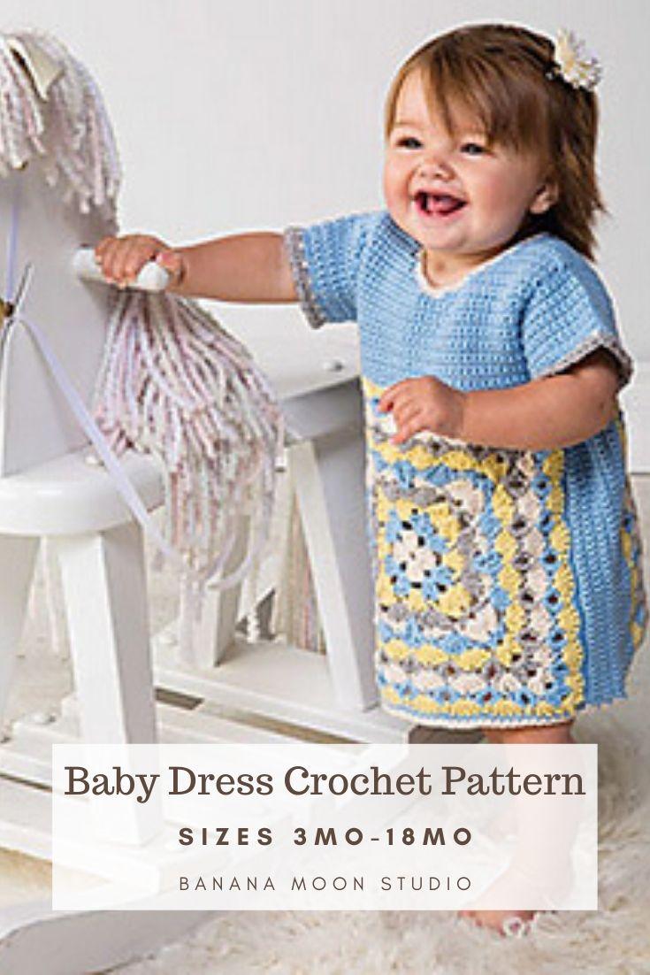 Baby dress crochet pattern in sizes 3 mo - 18 mo, pattern by Banana Moon Studio.