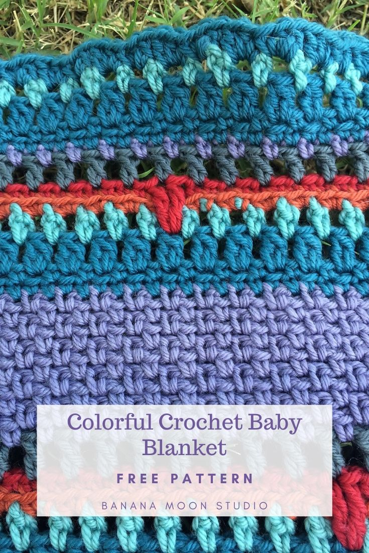 Center out, colorful crochet baby blanket, free pattern from Banana Moon Studio