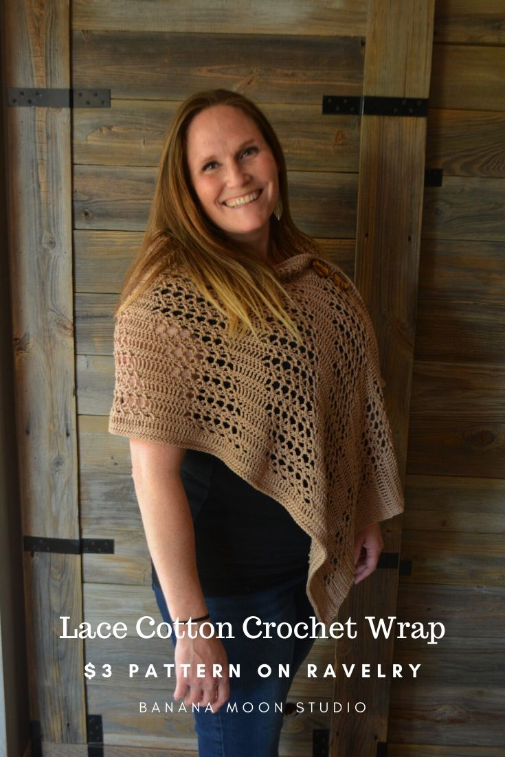 Cotton lace crochet wrap for spring and summer. $3 crochet pattern from Banana Moon Studio.