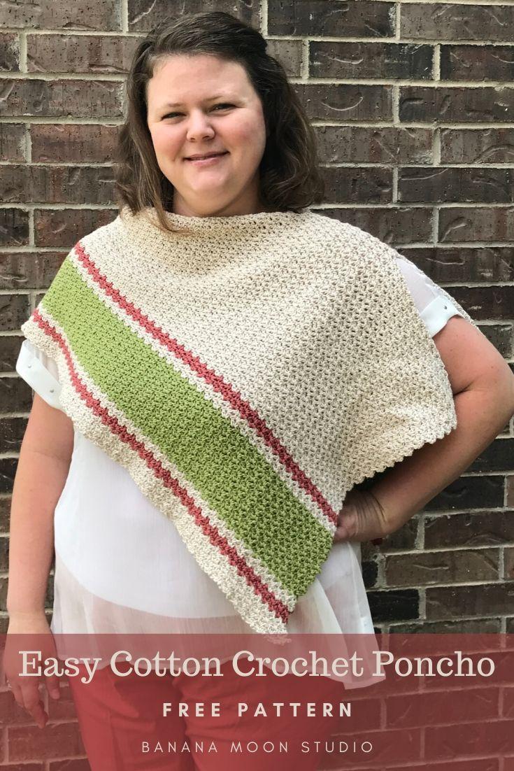 Easy cotton crochet poncho, free pattern from Banana Moon Studio!