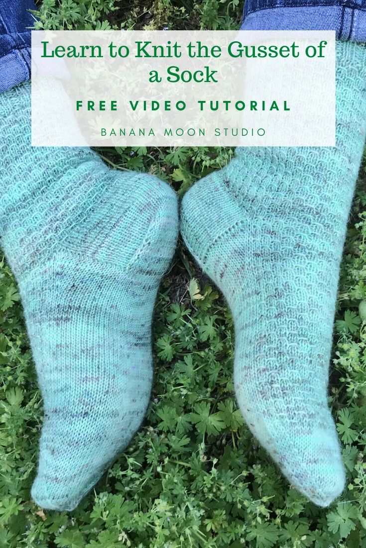 Learn to knit the gusset of a sock with this free video tutorial from Banana Moon Studio! #learntoknitsocks