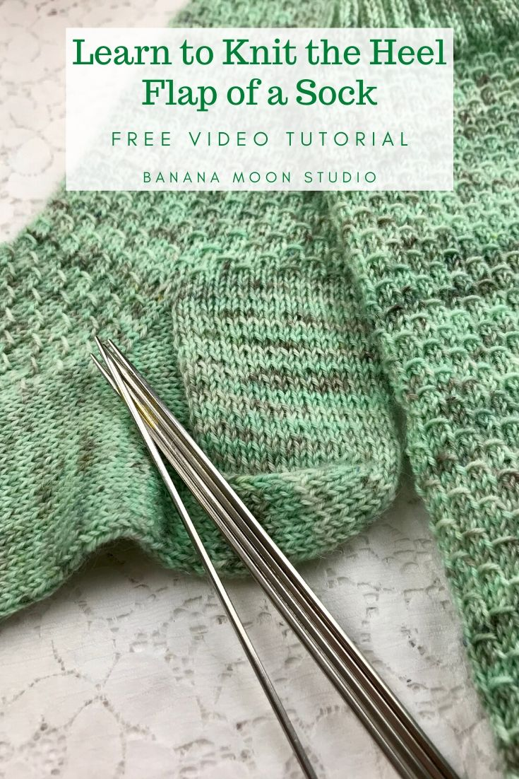 Learn to knit the heel flap of a sock with this free video tutorial from Banana Moon Studio! #howtoknitsocks #learntoknitsocks