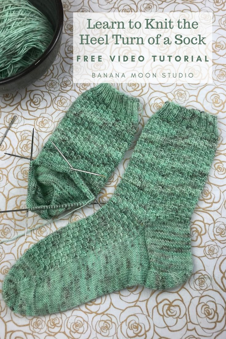 Learn to knit the heel turn of a sock with this video tutorial from Banana Moon Studio #howtoknitaheelturn #learntoknitsocks