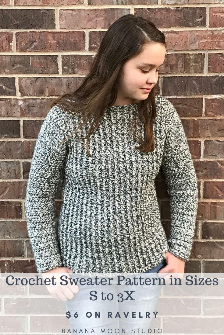 Women's crochet sweater pattern in bulky yarn, sizes S to 3X, from Banana Moon Studio! #crochetsweaterpatterns