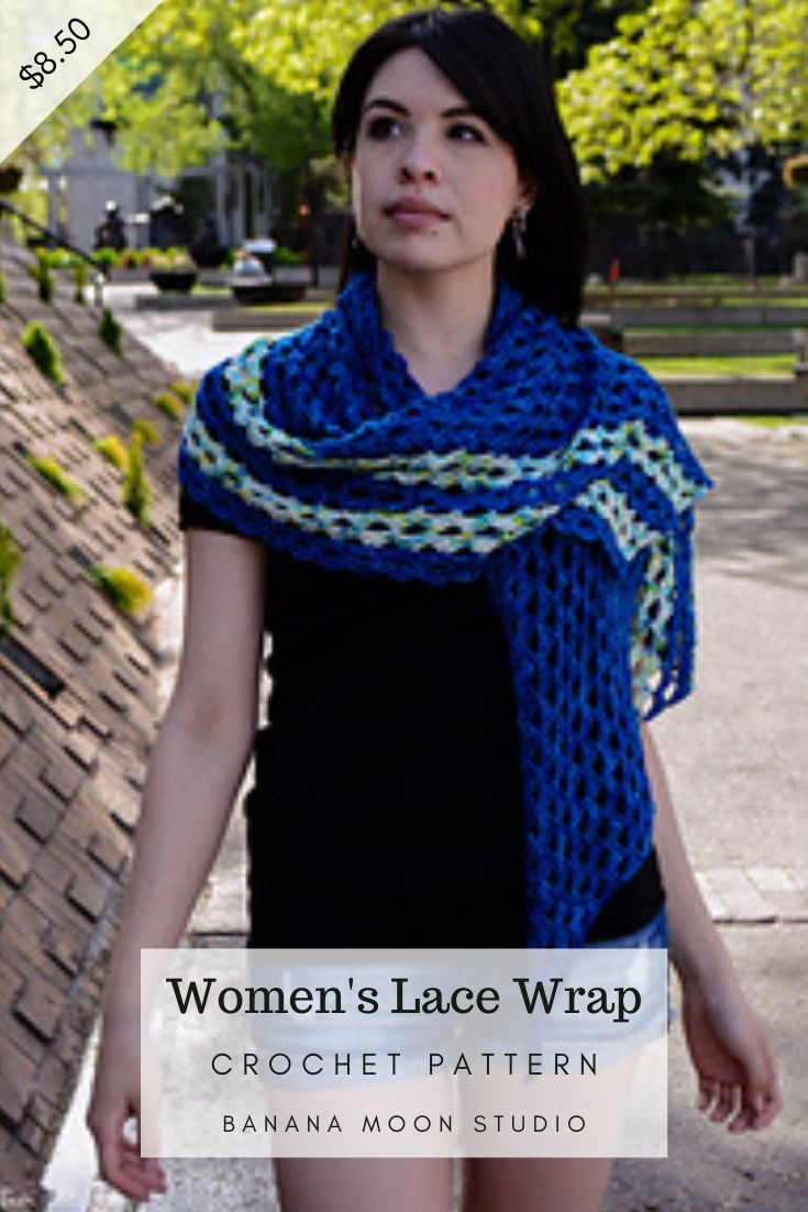 Woman in crochet lace wrap or scarf with stripes