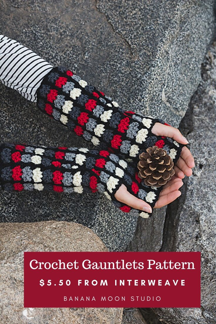 Crochet pattern for gauntlets, fingerless gloves, wrist warmers. Pattern by Banana Moon Studio, available to purchase from Interweave.