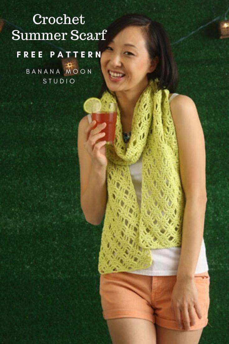 Crochet summer lace scarf free pattern from Banana Moon Studio and I Like Crochet