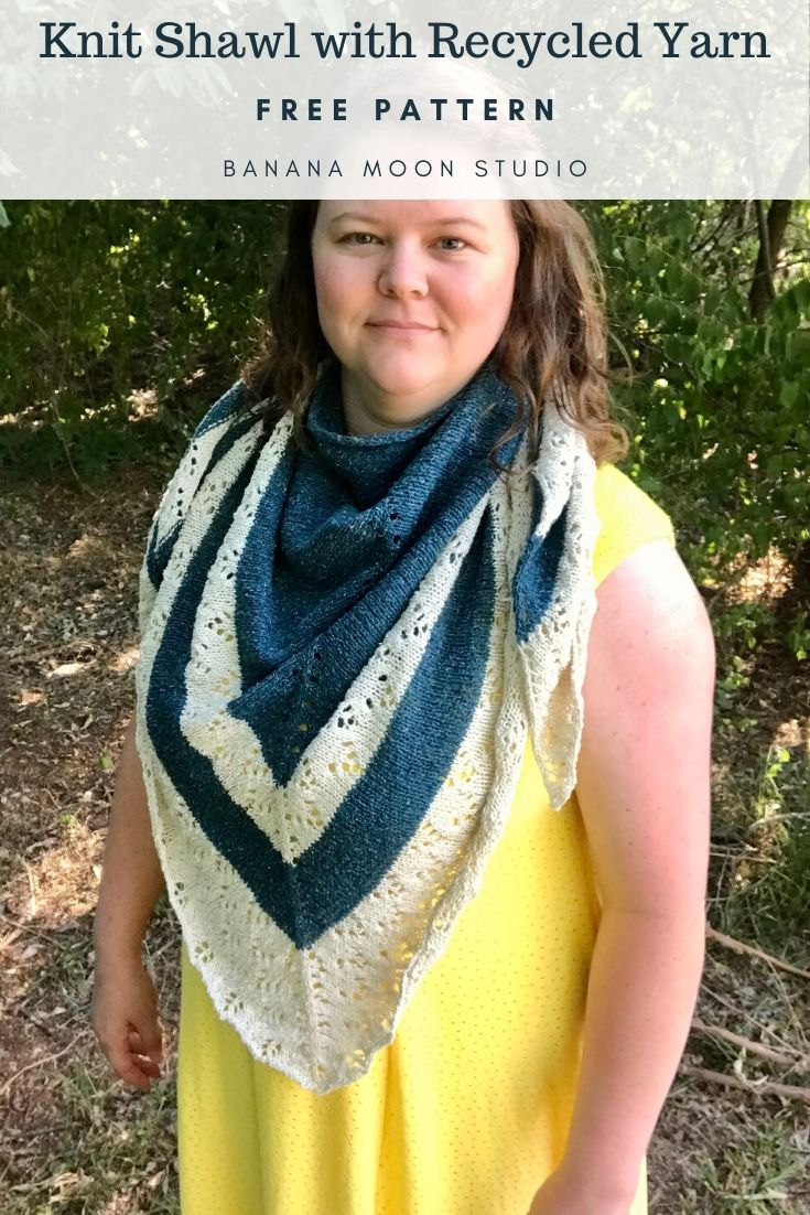 Free knit shawl pattern with recycled yarn from Banana Moon Studio