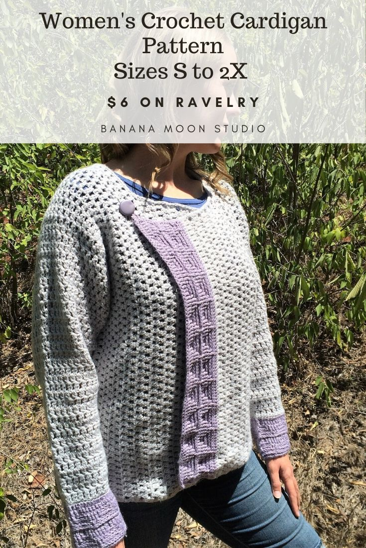 Women's crochet cardigan pattern in sizes S to 2X from Banana Moon Studio