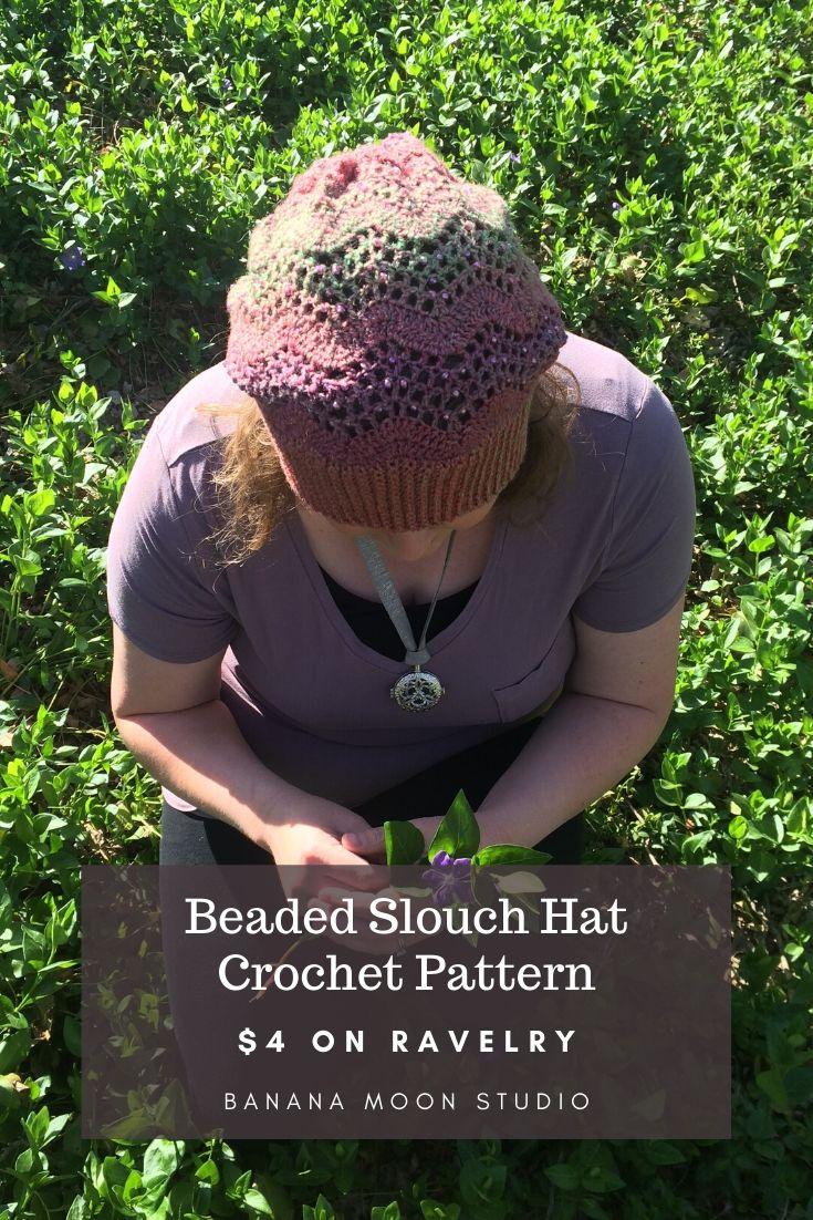 Beaded crochet slouch hat pattern from Banana Moon Studio
