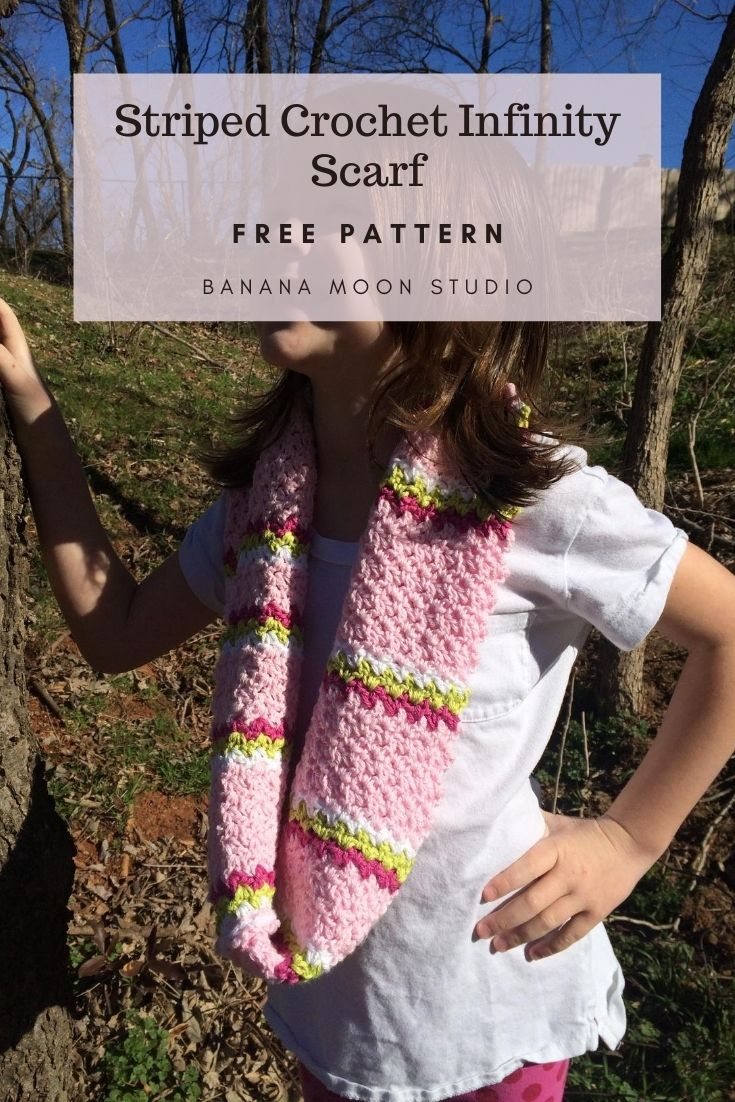 Striped crochet infinity scarf free pattern from Banana Moon Studio