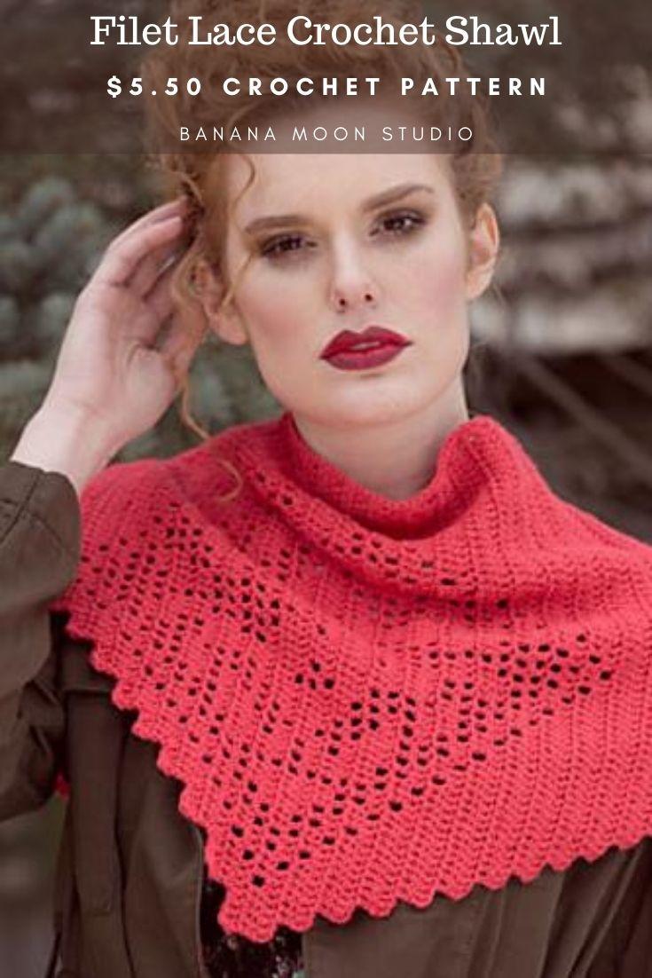 Filet lace crochet shawl pattern from Banana Moon Studio and Interweave Crochet!