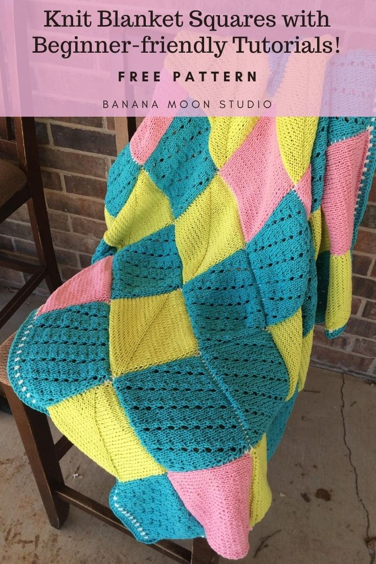 Learn to knit with these blanket squares and beginner-friendly tutorials from Banana Moon Studio!